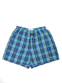 Men's Blue & Charcoal Woven Check Boxers Shorts With Button Fly Pack of 2