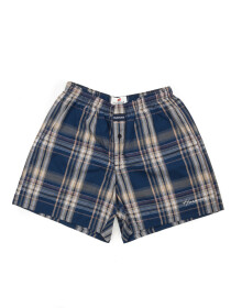 Men's Navy Blue & Green Woven Plaid Boxers Shorts With Button Fly Pack of 2