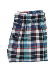 Men's Multi Woven Check Boxers Shorts With Button Fly Pack of 2