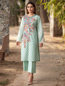 Aqua Printed Lawn Stitched Kurtis for Women