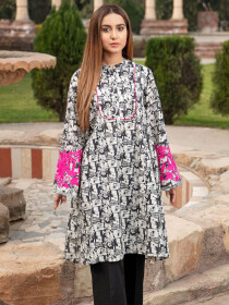 Black Printed Lawn Stitched Kurtis for Women