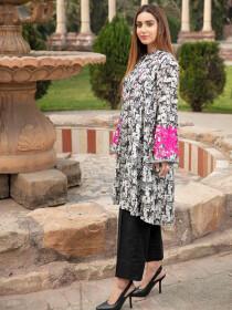 Black Printed Lawn Stitched Kurtis for Women