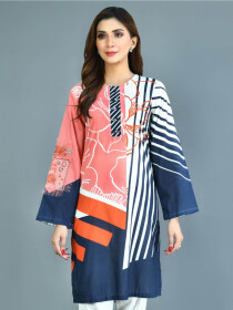 Pink Printed Lawn Stitched Kurtis for Women