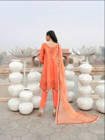 Orange Printed 3 Piece Luxury Lawn Suite