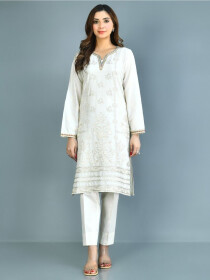 Off White Printed Lawn Stitched Suits for Women