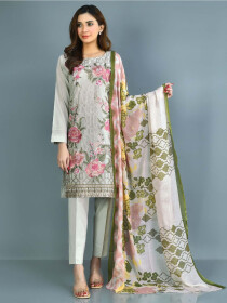 Beige Printed Lawn Stitched Suits for Women