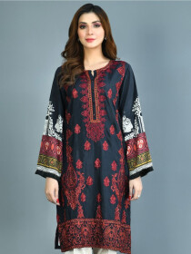 Black Printed Lawn Stitched Suits for Women