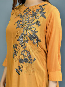 Mustard Printed Lawn Stitched Suits for Women