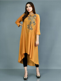 Mustard Printed Lawn Stitched Shirt for Women
