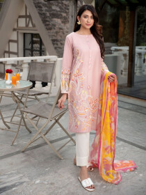 L-Pink Printed Lawn Stitched Suits for Women