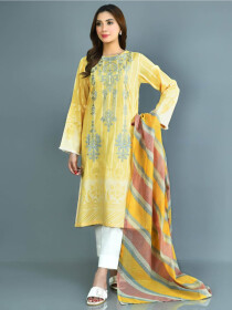 Yellow Printed Lawn Stitched Suits for Women