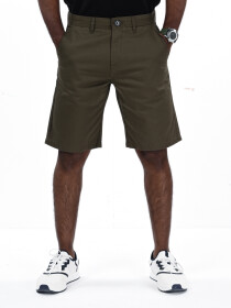 Men's Olive Slim Fit Comfort Twill Chino Shorts