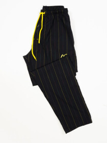Black & Multi lining Cotton Relaxed Pajama with zipper side pockets