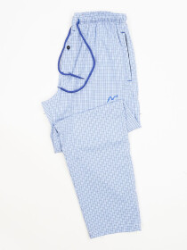 Sky Blue Checked Cotton Relaxed Pajama with zipper side pockets