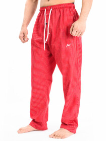 Red & White Modern Check Cotton Relaxed Pajama with zipper side pockets