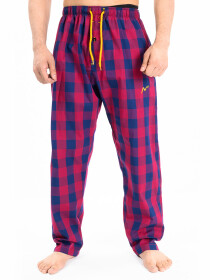 Blue & Maroon Modern Check Cotton Relaxed Pajama with zipper side pockets