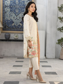 Beige Embroidered Lawn Unstitched 3 Piece Suit for Women