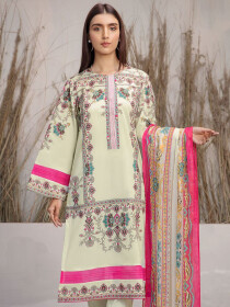 Off White Printed Lawn Texture Unstitched 2 Piece Suit for Women