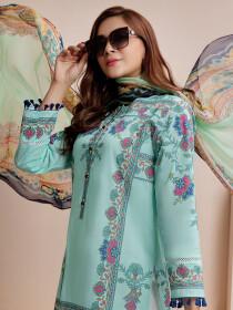 Aqua Printed Lawn Texture Unstitched 2 Piece Suit for Women