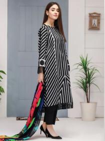Black Printed Lawn Unstitched 2 Piece Suit for Women