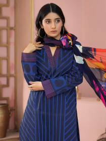 Blue Printed Lawn Unstitched 2 Piece Suit for Women