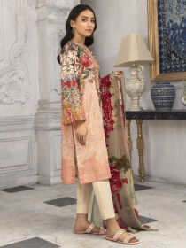 T-Pink Embroidered Jacquard  Unstitched 2 Piece Suit for Women
