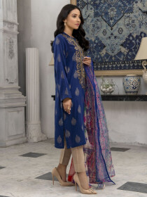 Royal Blue Embroidered Jacquard  Unstitched 2 Piece Suit for Women