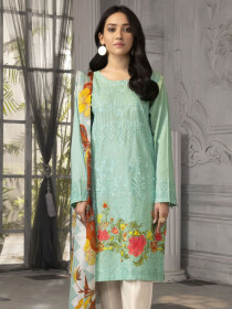 Aqua Embroidered Lawn Unstitched 2 Piece Suit for Women