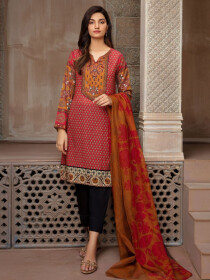 Red Printed Lawn Unstitched 2 Piece Suit for Women