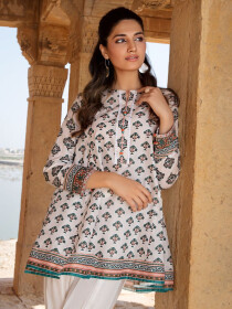 Off White Printed Lawn Unstitched 2 Piece Suit for Women