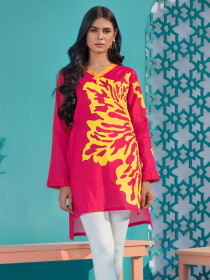 Pink Printed Lawn Unstitched Shirt for Women
