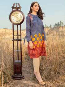 Blue Printed Lawn Unstitched Shirt for Women