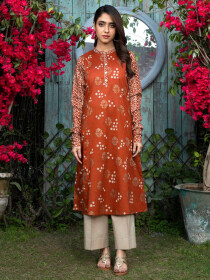 Orange Printed Lawn Unstitched Shirt for Women