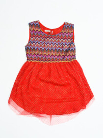 Princess Red Multi Waves Dress For Baby Girl