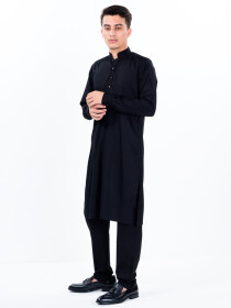 Men Slim Fit Black Kurta Pajama