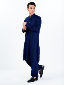 Men Slim Fit Navy Super Soft Kurta Pajama