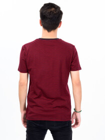 Men Burgundy & Black Cotton V-Neck Tee Shirt