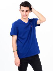 MenBlue & Black Cotton V-Neck Tee Shirt