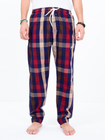 Red & Blue Multi Check Cotton Relaxed Pajama with zipper side pockets
