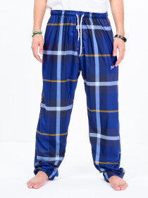 Royal Blue Multi Check Cotton Relaxed Pajama with zipper side pockets