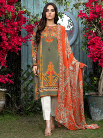Grey Raw Silk Unstitched 2 Piece Suit for Women