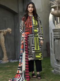 Black & White Unstitched 2 Piece Suit for Women