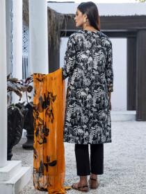Black Lawn Unstitched 2 Piece Suit for Women