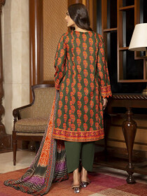 Brown Printed Lawn Unstitched 3 Piece Suit for Women