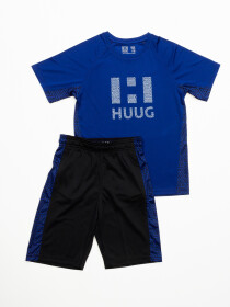Boys' Blue & Black Outfits Short Sleeve Tee And Short Pants