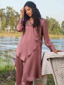 Tea Pink Embroidered Silk StitchSuit for Women