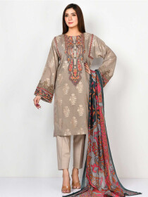 Grey Embroidered JacquardStitched Suitfor Women