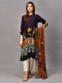 Plum Printed Lawn Stitched Suitfor Women