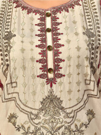 Beige Embroidered Lawn Stitched Suitfor Women