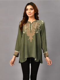 Green Printed Arabic Lawn Stitched Shirtfor Women